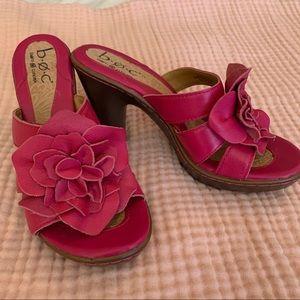 Børn Geranium Pink Slip On Mules/Kitten Heels